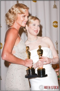 Charlize Theron and Renee Zellweger in the Press Room at the 76th Annual Academy Awards®