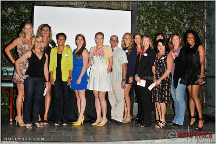 Olympic athletes (L to R) Jaime Komer, Tracy Evans (front), April Ross, Angela Hucles, Erin Hamlin, Anne Poulin, Curt Bader, Jen Kessy, Pam Shriver (back row) Tamara Christopherson, Elsie Wenger (back row), Cathy Marino, Katherine Starr (back row) and Tasha Danvers