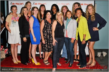 (Front Row L to R) Soccer Player Anne Poulin and Olympians Tamara Christopherson, Erin Hamlin, Cathy Marino, Tracy Evans, Lorrie Faire, Angela Hucles, Jen Kessy, (Back Row L to R) Jaime Komer, Elsie Wenger, Tasha Danvers, Katherine Starr, April Ross