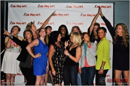 (Front Row L to R) Soccer Player Anne Poulin and Olympians Tamara Christopherson, Erin Hamlin, Cathy Marino, Tracy Evans, Lorrie Faire, Angela Hucles, (Back Row L to R) Jaime Komer, Elsie Wenger, Tasha Danvers, Katherine Starr, April Ross, Jen Kessy