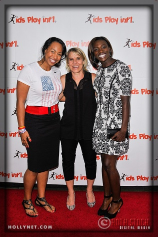 Olympians Jazmine Fenlator, Tracy Evans and Dawn Harper
