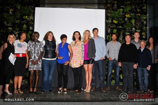 Olympians Tracy Evans, Jazmine Fenlator, Dawn Harper, Katherine Starr, Angela Hucles, Tennis Pro Pam Shriver, Olympian Jaime Komer, Pro Beach Volleyballer Matt Komer, Olympian Giddeon Massie, LA Galaxy's Bruce Arena, Olympic hopeful Tri Bourne, LA Galaxy's Dave Farachan and Pro Beach Volleyball player Liz Masakayan