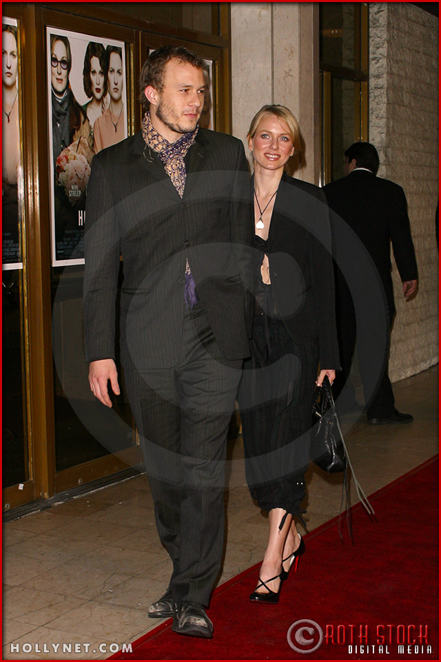 "Heath Ledger and Naomi Watts attend the World Premiere of ""The Hours"""