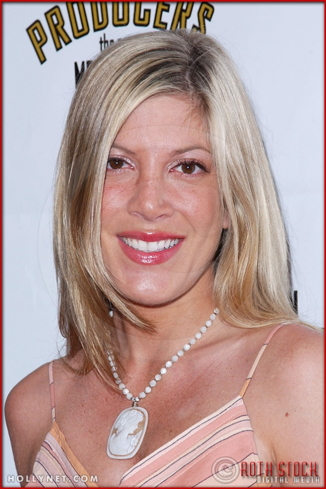 Tori Spelling attends opening night of The Producers
