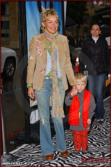 "Sharon Stone and son Roan Bronstein attend the World Premiere of ""Racing Stripes"""