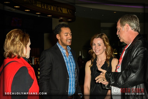 (L-R) Carol Naber, Olympian Giddeon Massie, Olympic Hopeful Tela Crane, and Olympian John Naber