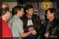 Olympians Curt Bader (L), Cliff Meidl (C) and Brian Godell (R) greet a Guest
