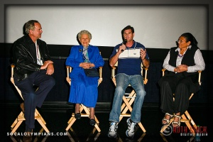(L-R) Olympians John Naber, Iris Cummings Critchell, Cliff Meidl, and Anita DeFrantz