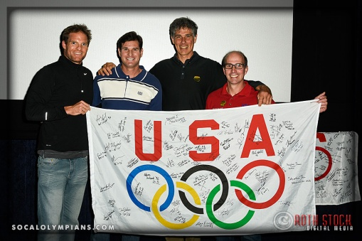 (L-R) Elite Rower Jack Nunn and Olympians Cliff Meidl, Philippe Boccara, and Curt Bader