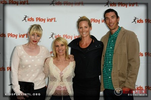 (L to R) Professional soccer player Anne Poulin with Olympians Tracy Evans-Land and Jaime Komer, and professional volleyball player Matt Komer