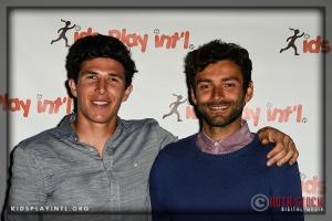 LA Galaxy players (L-R) goalkeeper Brian Rowe and midfielder Baggio Husidic