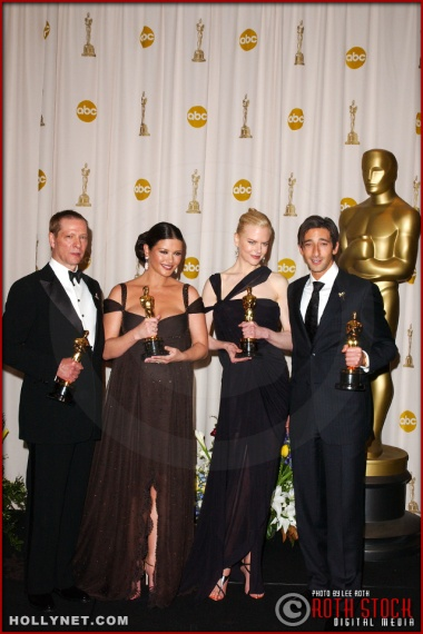 Chris Cooper, Catherine Zeta-Jones, Nicole Kidman and Adrien Brody on the Press Room at the 75th Annual Academy Awards®