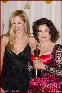 Mira Sorvino and Colleen Atwood in the Press Room at the 75th Annual Academy Awards®