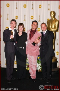 Martin Strange-Hansen, Mie Andreasen, Flemming Klem and Kim Magnusson in the Press Room at the 75th Annual Academy Awards®