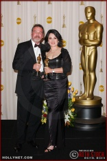 John E. Jackson and Beatrice De Alba in the Press Room at the 75th Annual Academy Awards®