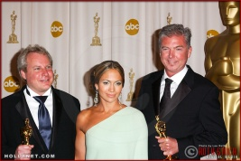 John Myhre, Jennifer Lopez and Gord Sim in the Press Room at the 75th Annual Academy Awards®