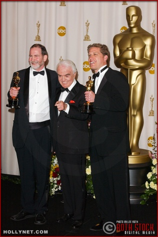Bill Guttentag, Jack Valenti and Robert David Port in the Press Room at the 75th Annual Academy Awards®