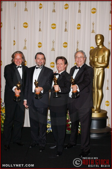 Randall Williams Cook, Alex Funke, Joe Letteri, and Jim Rygiel in the Press Room at the 75th Annual Academy Awards®