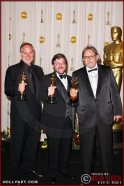 Michael Minkler, Dominich Tavella and David Lee in the Press Room at the 75th Annual Academy Awards®