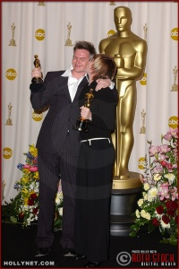 Martin Strange-Hansen and Mie Andreasen in the Press Room at the 75th Annual Academy Awards®