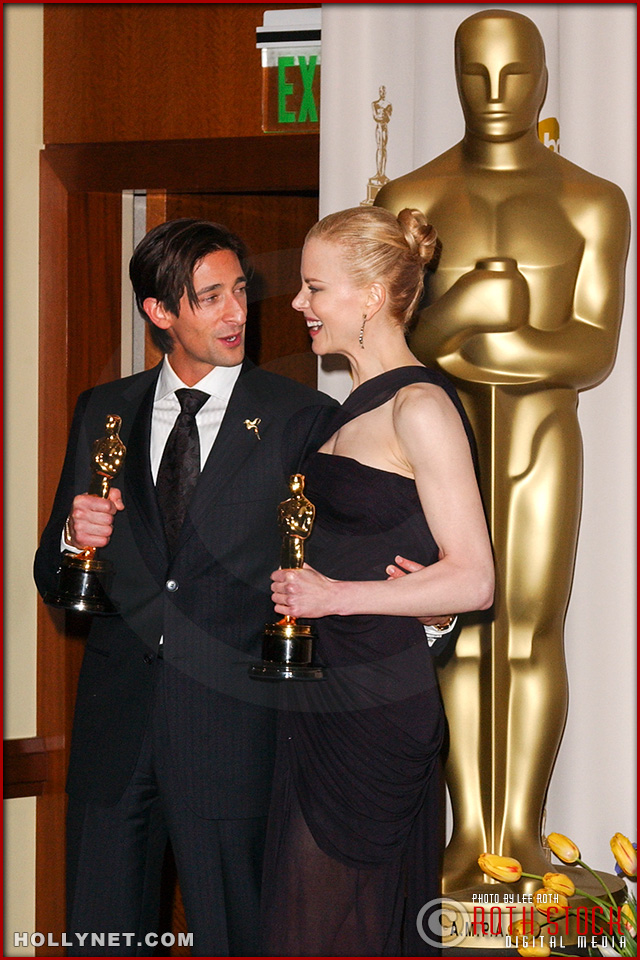 Actors Adrien Brody and Nicole Kidman in the Press Room at 75th Annual Academy Awards®